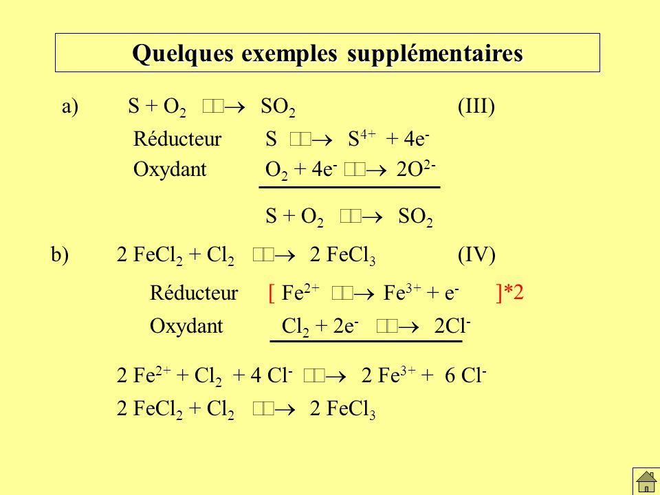Quelques exemples supplémentaires b) 2 FeCl 2 + Cl 2 2 FeCl 3 (IV) 2 Fe 2+ + Cl 2 + 4 Cl - 2 Fe 3+ + 6 Cl - a)S + O 2 SO 2 (III) RéducteurS S 4+ + 4e