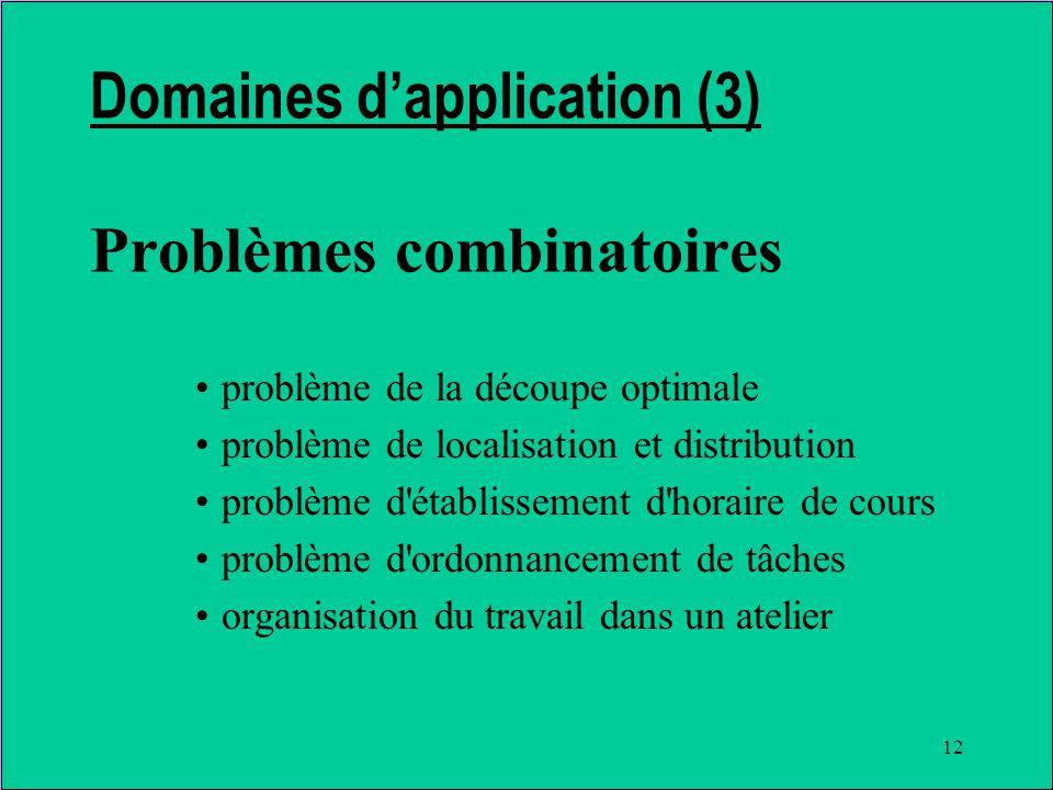 12 Domaines dapplication (3) Problèmes combinatoires problème de la découpe optimale problème de localisation et distribution problème d établissement d horaire de cours problème d ordonnancement de tâches organisation du travail dans un atelier