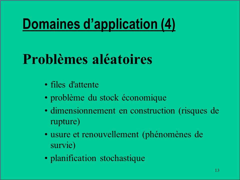 13 Domaines dapplication (4) Problèmes aléatoires files d attente problème du stock économique dimensionnement en construction (risques de rupture) usure et renouvellement (phénomènes de survie) planification stochastique