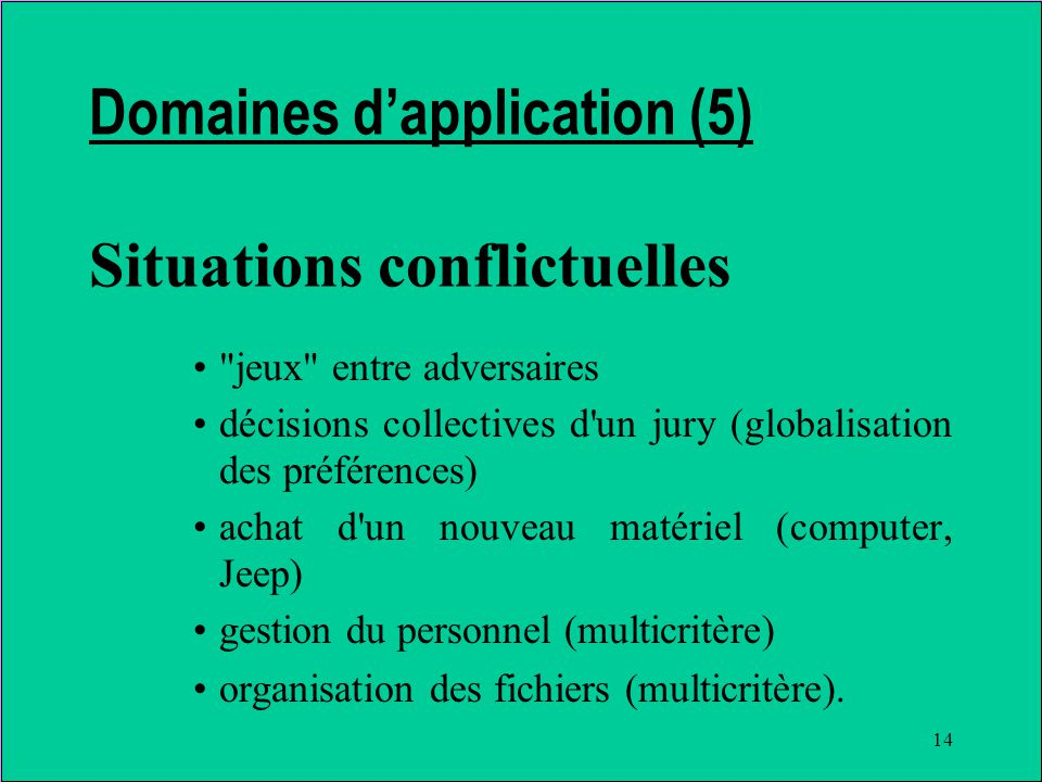 14 Domaines dapplication (5) Situations conflictuelles