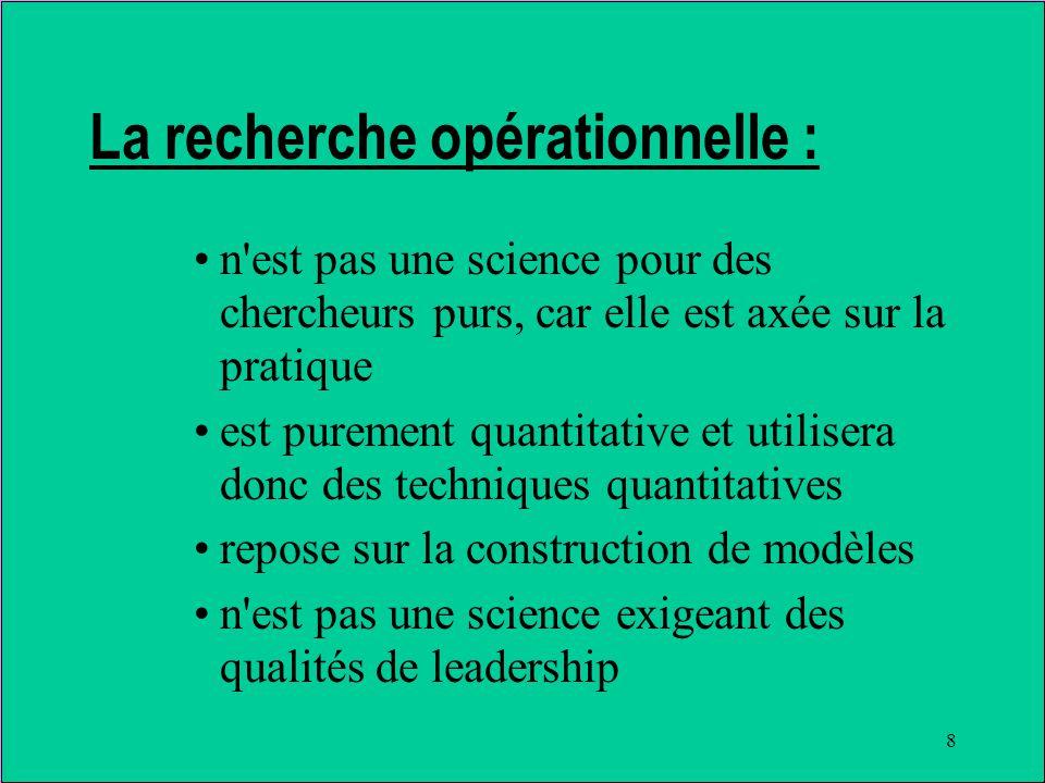 8 La recherche opérationnelle : n est pas une science pour des chercheurs purs, car elle est axée sur la pratique est purement quantitative et utilisera donc des techniques quantitatives repose sur la construction de modèles n est pas une science exigeant des qualités de leadership