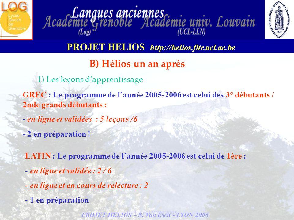 PROJET HELIOS – S. Van Esch - LYON 2006 PROJET HELIOS http://helios.fltr.ucl.ac.be HELIOS LYON 2005 B) Hélios un an après 1) Les leçons dapprentissage