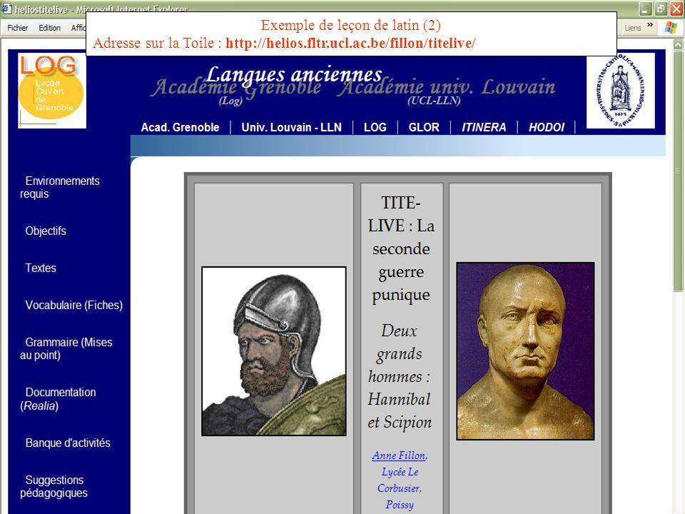 PROJET HELIOS – S. Van Esch - LYON 2006 PROJET HELIOS http://helios.fltr.ucl.ac.be HELIOS LYON 2005 Exemple de leçon de latin (2) Adresse sur la Toile