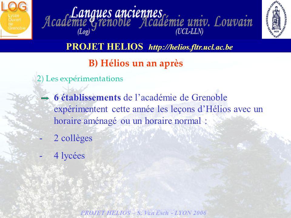 PROJET HELIOS – S. Van Esch - LYON 2006 PROJET HELIOS http://helios.fltr.ucl.ac.be HELIOS LYON 2005 B) Hélios un an après 2) Les expérimentations 6 ét