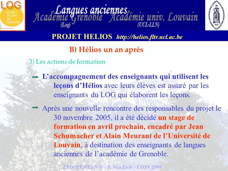 PROJET HELIOS – S. Van Esch - LYON 2006 PROJET HELIOS http://helios.fltr.ucl.ac.be HELIOS LYON 2005 B) Hélios un an après 3) Les actions de formation