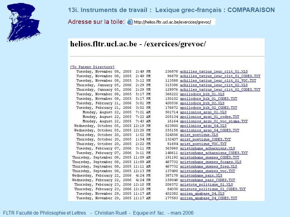 Adresse sur la toile: 13i. Instruments de travail : Lexique grec-français : COMPARAISON FLTR Faculté de Philosophie et Lettres - Christian Ruell - Equ