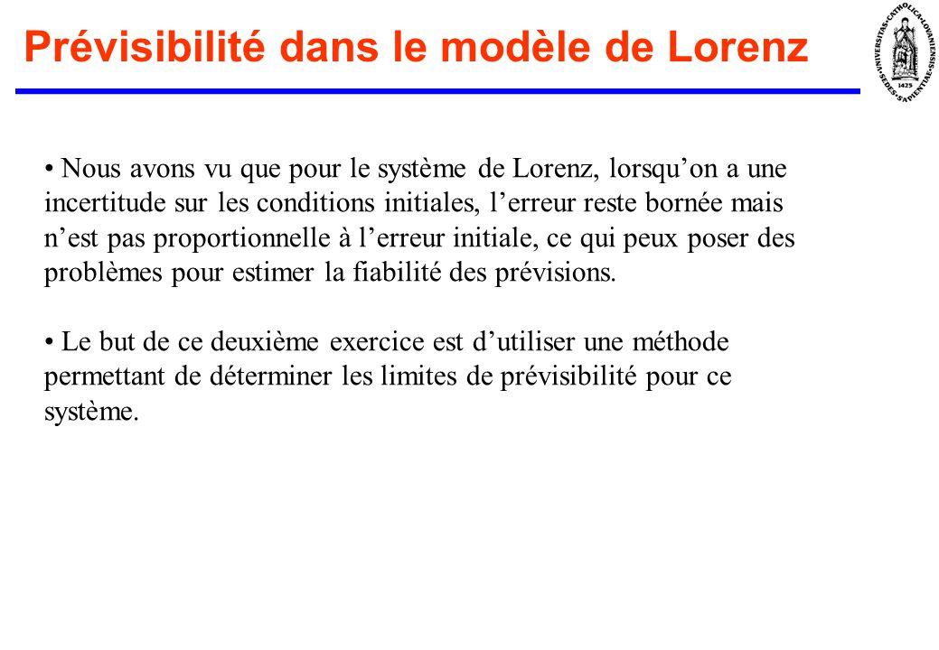 Prévisibilité dans le modèle de Lorenz Nous avons vu que pour le système de Lorenz, lorsquon a une incertitude sur les conditions initiales, lerreur r