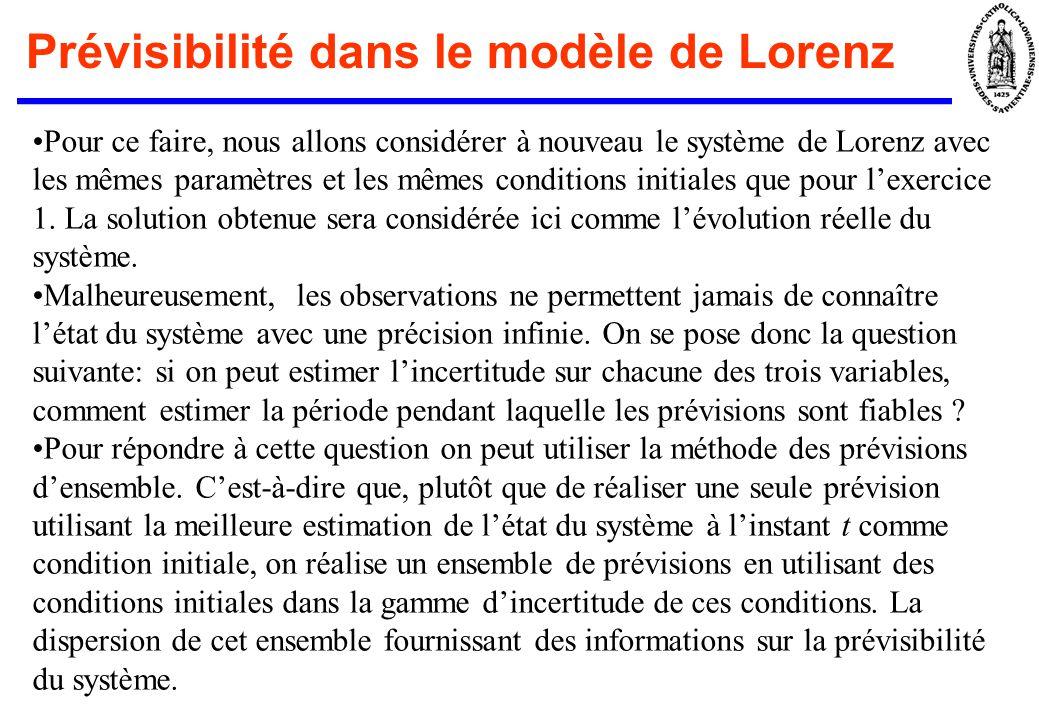 En pratique Faisons lhypothèse que pour t=10, on connaisse létat du système de Lorenz avec une précision de 0,5 sur chacune des variables et quon cherche à prévoir létat pour t > 10.
