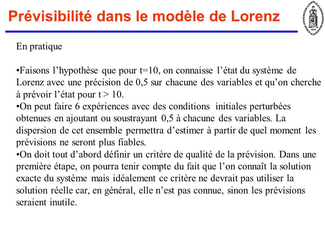En pratique Faisons lhypothèse que pour t=10, on connaisse létat du système de Lorenz avec une précision de 0,5 sur chacune des variables et quon cher