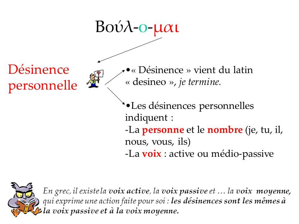 Βολ-ο-μαι « Désinence » vient du latin « desineo », je termine. Les désinences personnelles indiquent : -La personne et le nombre (je, tu, il, nous, v