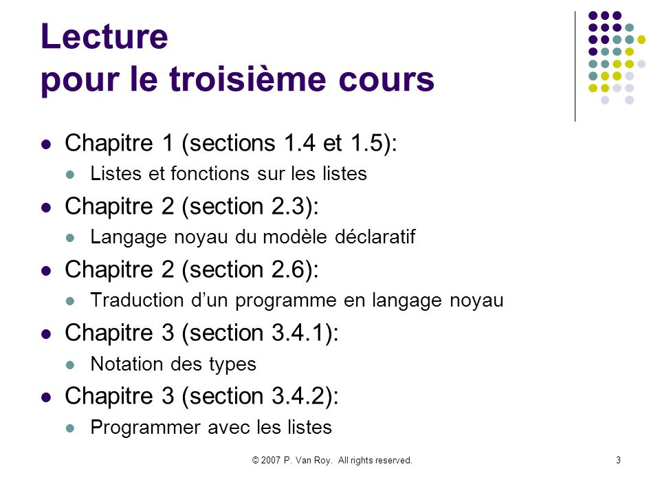 © 2007 P.Van Roy. All rights reserved.14 Pourquoi les listes.
