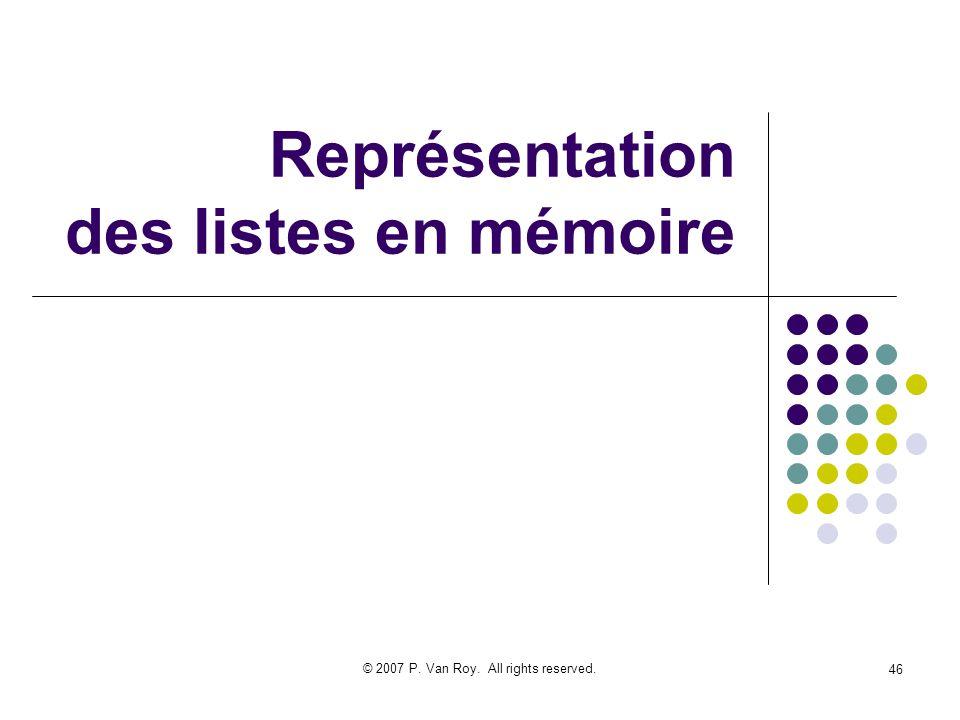 © 2007 P. Van Roy. All rights reserved. 46 Représentation des listes en mémoire