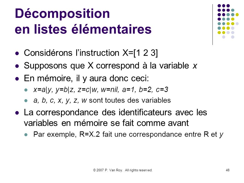 © 2007 P. Van Roy. All rights reserved.48 Décomposition en listes élémentaires Considérons linstruction X=[1 2 3] Supposons que X correspond à la vari