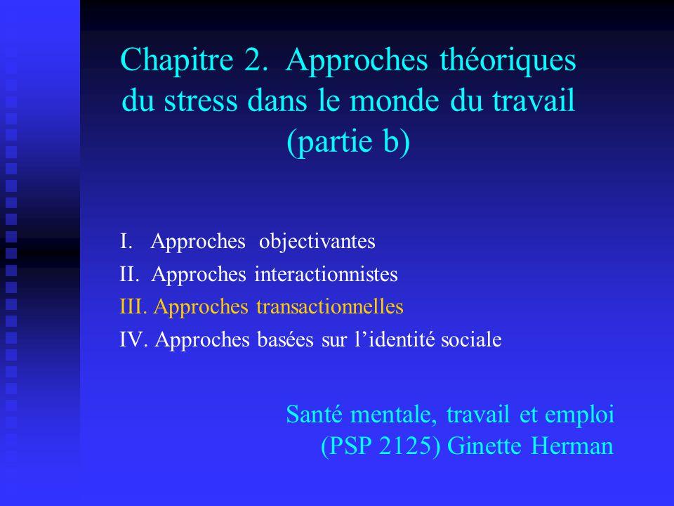 Chapitre 2. Approches théoriques du stress dans le monde du travail (partie b) Santé mentale, travail et emploi (PSP 2125) Ginette Herman I. Approches