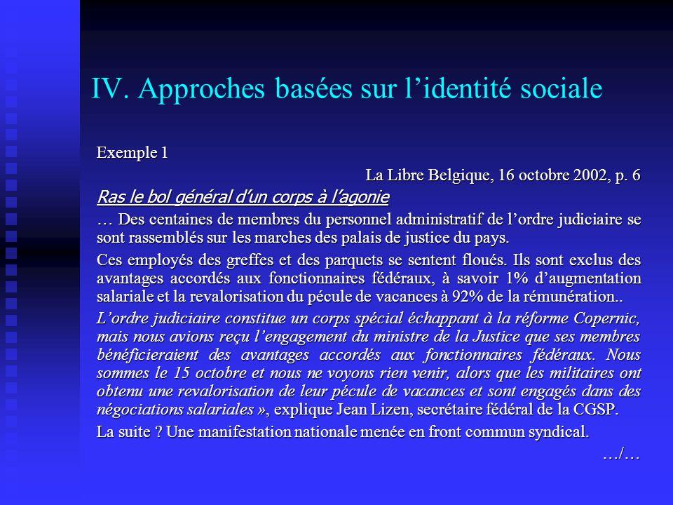 IV. Approches basées sur lidentité sociale Exemple 1 La Libre Belgique, 16 octobre 2002, p. 6 Ras le bol général dun corps à lagonie Ras le bol généra
