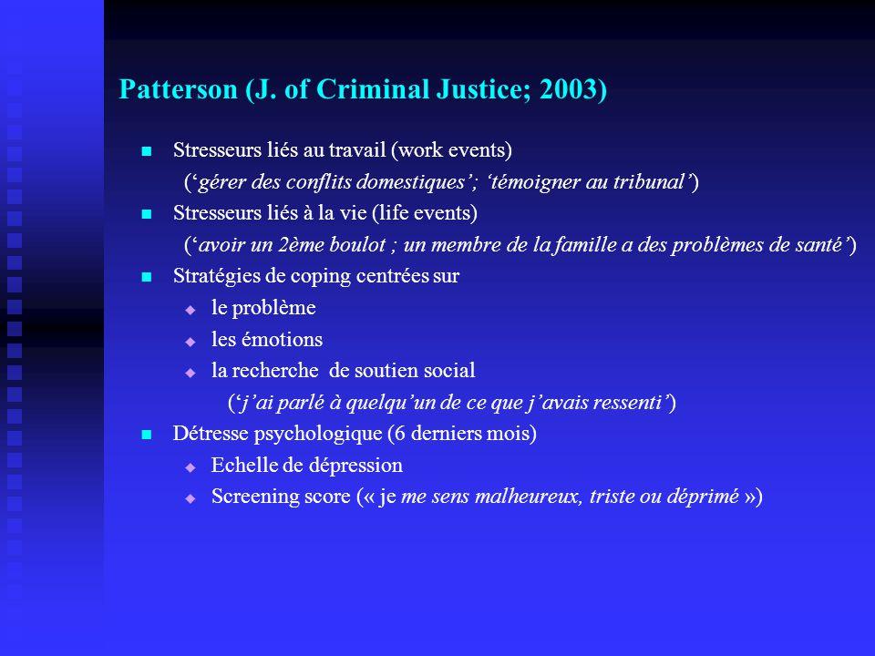 Patterson (J. of Criminal Justice; 2003) Stresseurs liés au travail (work events) (gérer des conflits domestiques; témoigner au tribunal) Stresseurs l