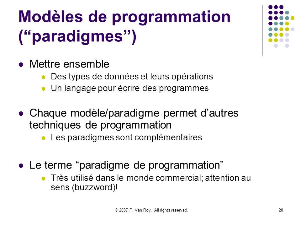 © 2007 P. Van Roy. All rights reserved.20 Modèles de programmation (paradigmes) Mettre ensemble Des types de données et leurs opérations Un langage po