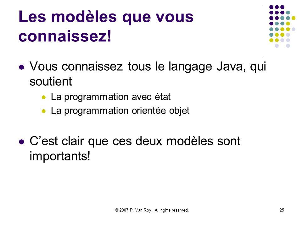 © 2007 P. Van Roy. All rights reserved.25 Les modèles que vous connaissez! Vous connaissez tous le langage Java, qui soutient La programmation avec ét