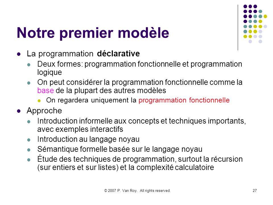 © 2007 P. Van Roy. All rights reserved.27 Notre premier modèle La programmation déclarative Deux formes: programmation fonctionnelle et programmation