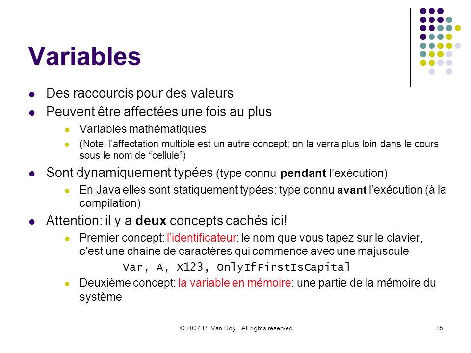 © 2007 P. Van Roy. All rights reserved.35 Variables Des raccourcis pour des valeurs Peuvent être affectées une fois au plus Variables mathématiques (N