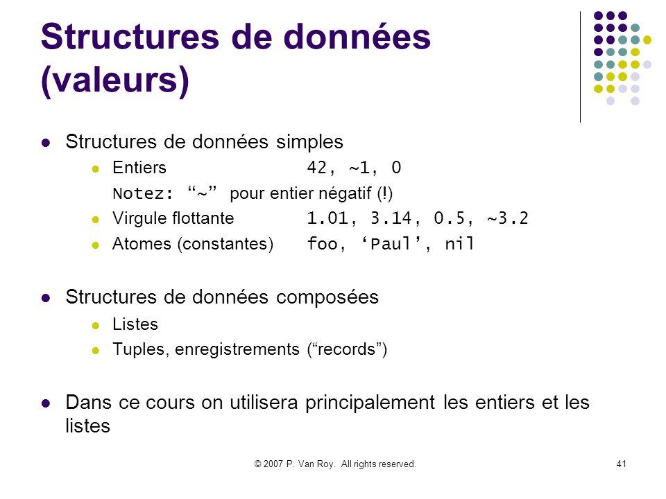 © 2007 P. Van Roy. All rights reserved.41 Structures de données (valeurs) Structures de données simples Entiers 42, ~1, 0 Notez: ~ pour entier négatif