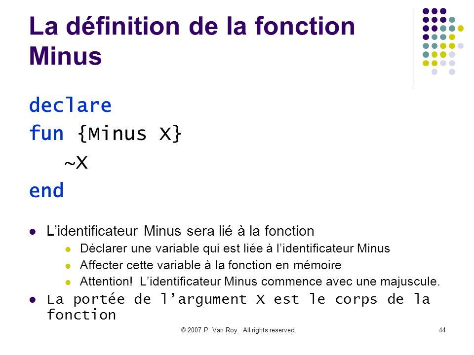 © 2007 P. Van Roy. All rights reserved.44 La définition de la fonction Minus Lidentificateur Minus sera lié à la fonction Déclarer une variable qui es