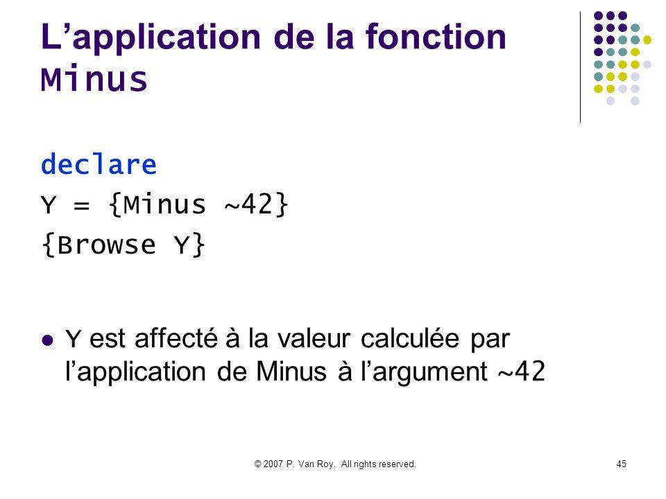 © 2007 P. Van Roy. All rights reserved.45 Lapplication de la fonction Minus Y est affecté à la valeur calculée par lapplication de Minus à largument ~