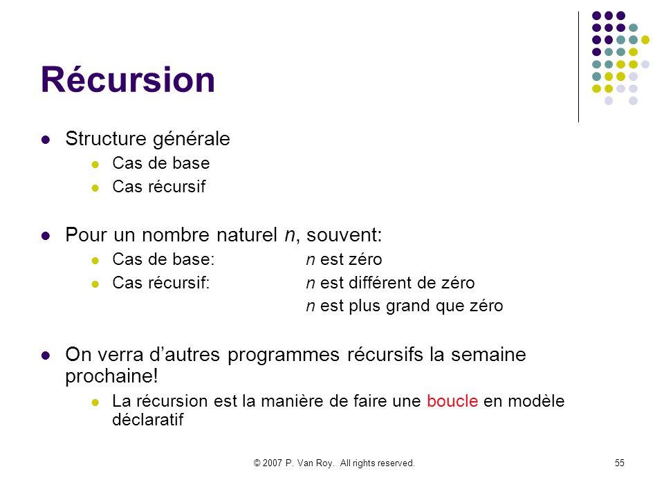 © 2007 P. Van Roy. All rights reserved.55 Récursion Structure générale Cas de base Cas récursif Pour un nombre naturel n, souvent: Cas de base:n est z