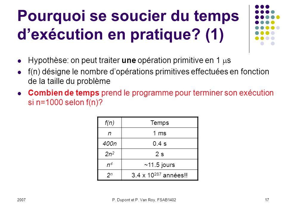 2007P.Dupont et P. Van Roy, FSAB140217 Pourquoi se soucier du temps dexécution en pratique.