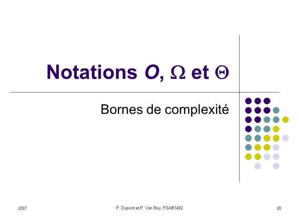 2007 P. Dupont et P. Van Roy, FSAB1402 20 Notations O, et Bornes de complexité