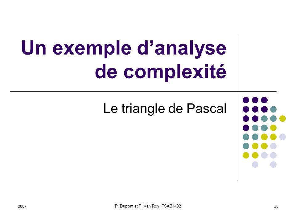 2007 P. Dupont et P. Van Roy, FSAB1402 30 Un exemple danalyse de complexité Le triangle de Pascal
