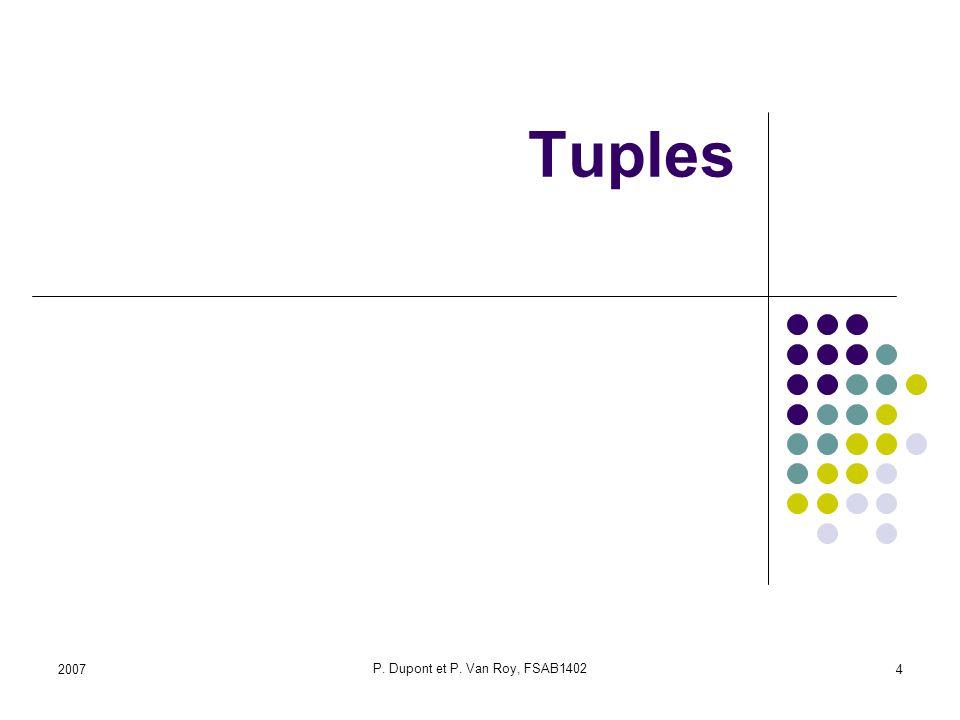 2007 P. Dupont et P. Van Roy, FSAB1402 4 Tuples
