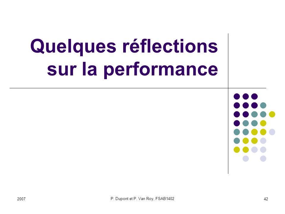 2007 P. Dupont et P. Van Roy, FSAB1402 42 Quelques réflections sur la performance