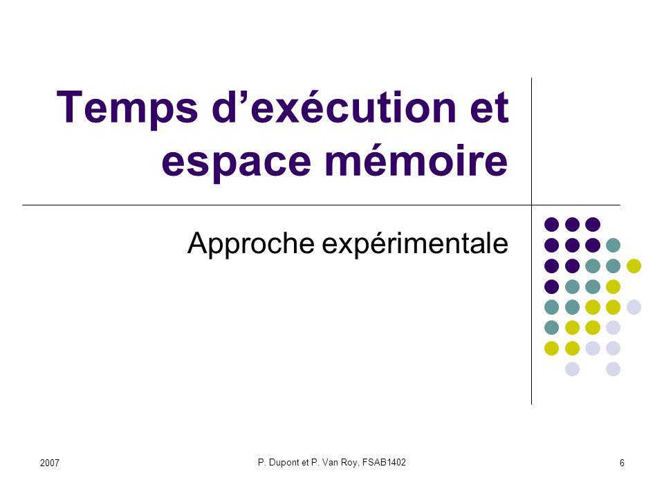 2007 P. Dupont et P. Van Roy, FSAB1402 6 Temps dexécution et espace mémoire Approche expérimentale