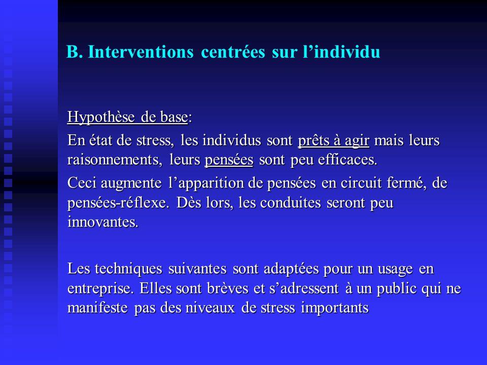 B. Interventions centrées sur lindividu Hypothèse de base: En état de stress, les individus sont prêts à agir mais leurs raisonnements, leurs pensées