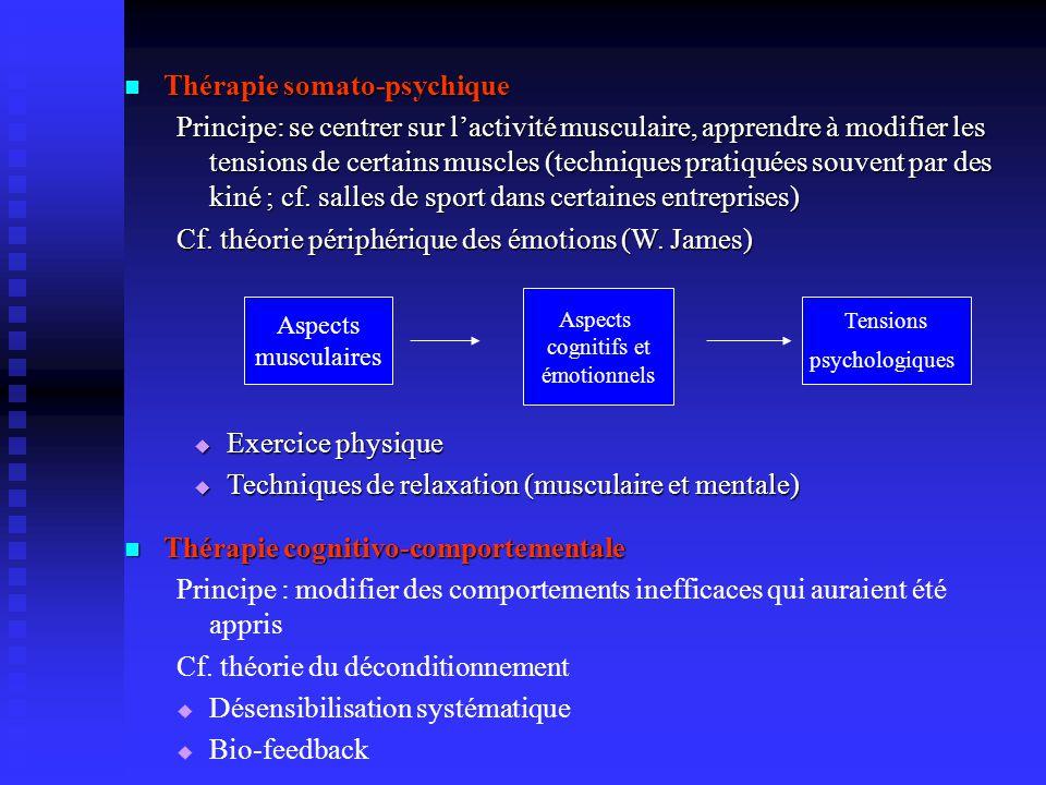 Thérapie somato-psychique Thérapie somato-psychique Principe: se centrer sur lactivité musculaire, apprendre à modifier les tensions de certains muscles (techniques pratiquées souvent par des kiné ; cf.