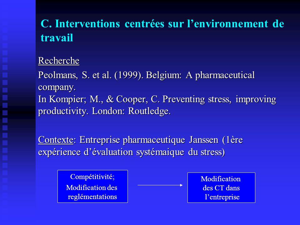 C. Interventions centrées sur lenvironnement de travail Recherche Peolmans, S. et al. (1999). Belgium: A pharmaceutical company. In Kompier; M., & Coo
