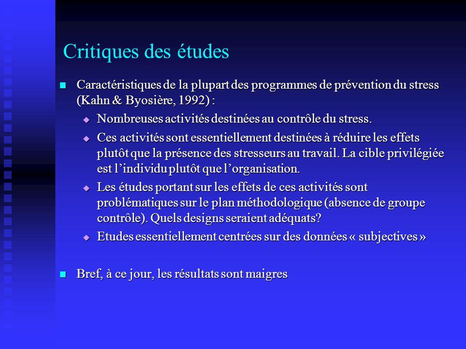 Critiques des études Caractéristiques de la plupart des programmes de prévention du stress (Kahn & Byosière, 1992) : Caractéristiques de la plupart des programmes de prévention du stress (Kahn & Byosière, 1992) : Nombreuses activités destinées au contrôle du stress.