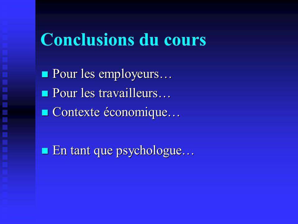 Conclusions du cours Pour les employeurs… Pour les employeurs… Pour les travailleurs… Pour les travailleurs… Contexte économique… Contexte économique…
