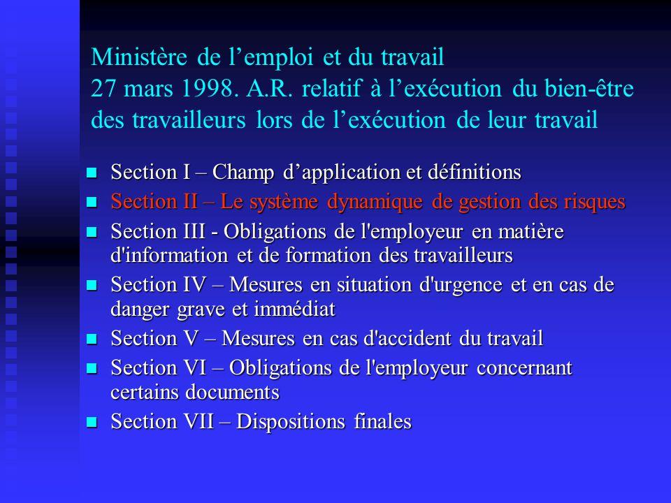 Ministère de lemploi et du travail 27 mars 1998. A.R. relatif à lexécution du bien-être des travailleurs lors de lexécution de leur travail Section I