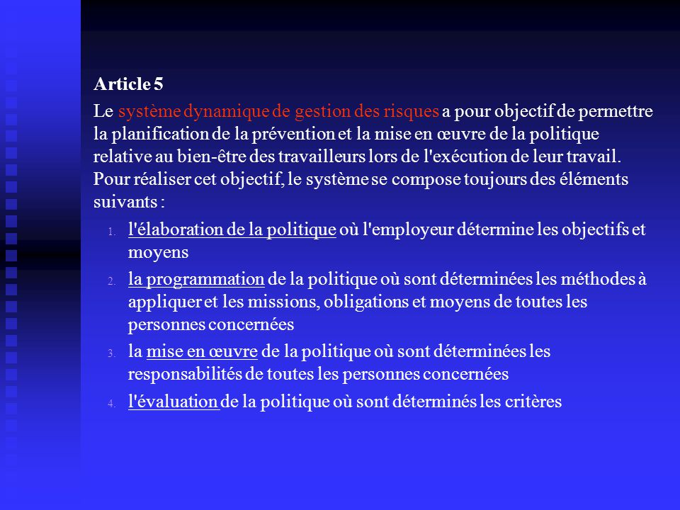 Article 5 Le système dynamique de gestion des risques a pour objectif de permettre la planification de la prévention et la mise en œuvre de la politique relative au bien-être des travailleurs lors de l exécution de leur travail.