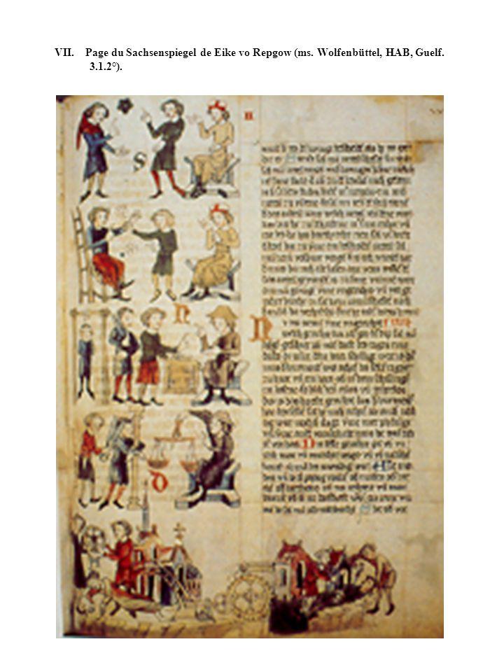 VII. Page du Sachsenspiegel de Eike vo Repgow (ms. Wolfenbüttel, HAB, Guelf. 3.1.2°).