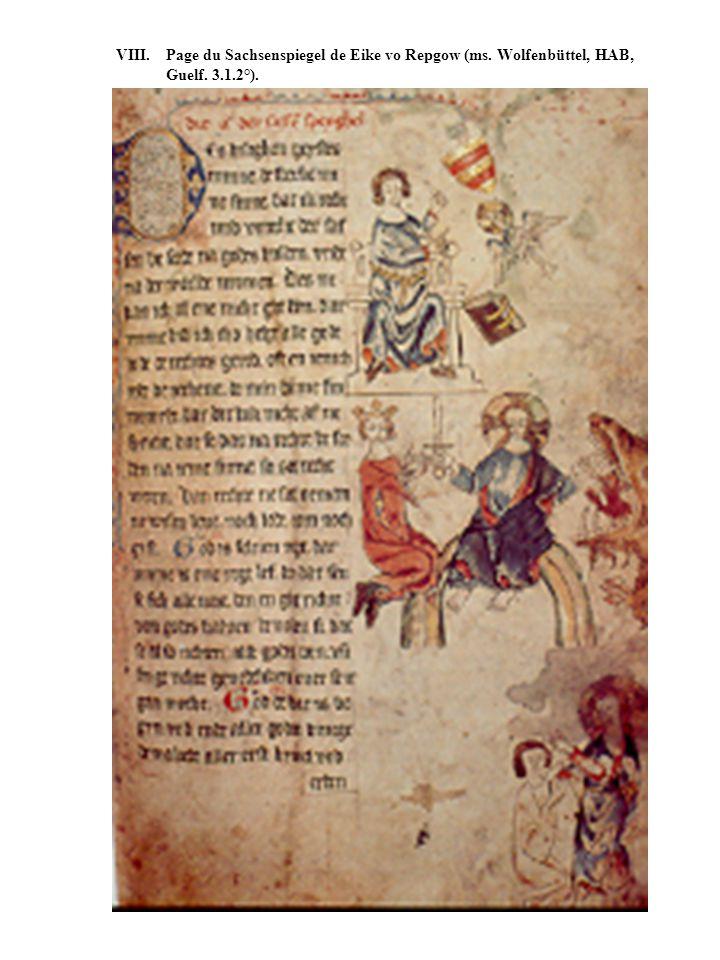 VIII. Page du Sachsenspiegel de Eike vo Repgow (ms. Wolfenbüttel, HAB, Guelf. 3.1.2°).