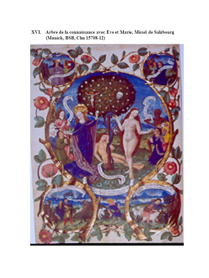 XVI. Arbre de la connaissance avec Eve et Marie, Missel de Salzbourg (Munich, BSB, Clm 15708-12)