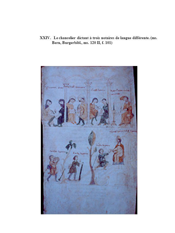 XXIV. Le chancelier dictant à trois notaires de langue différente. (ms. Bern, Burgerbibl., ms. 120 II, f. 101)