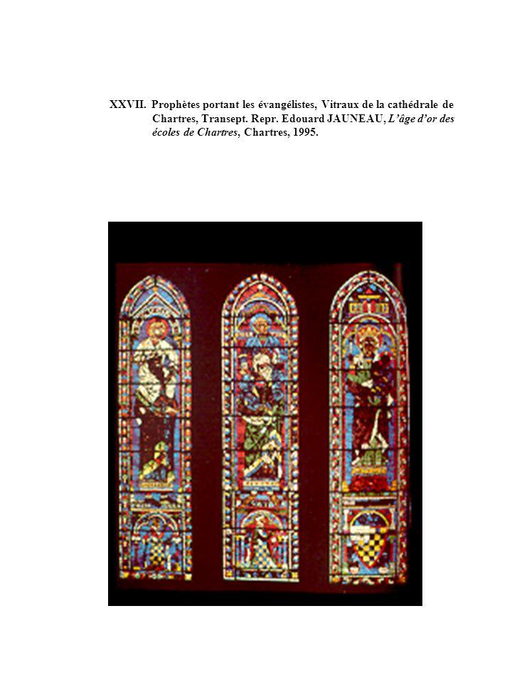 XXVII. Prophètes portant les évangélistes, Vitraux de la cathédrale de Chartres, Transept. Repr. Edouard JAUNEAU, Lâge dor des écoles de Chartres, Cha