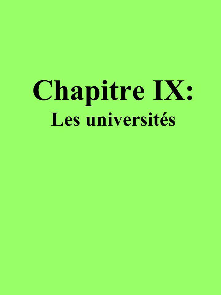 Chapitre IX: Les universités