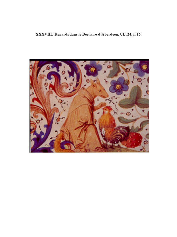 XXXVIII. Renards dans le Bestiaire dAberdeen, UL, 24, f. 16.
