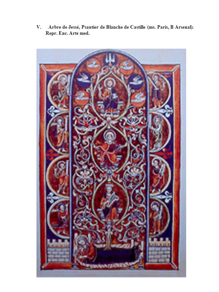 V. Arbre de Jessé, Psautier de Blanche de Castille (ms. Paris, B Arsenal). Repr. Enc. Arte med.