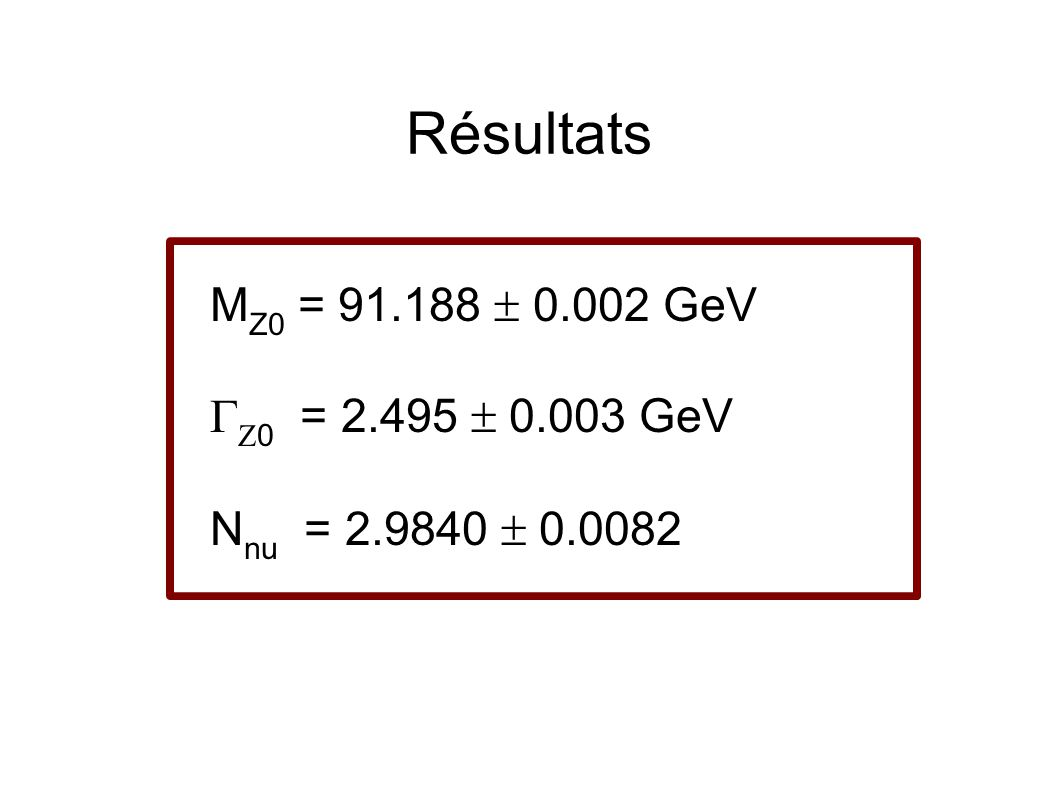 Résultats M Z0 = 91.188 ± 0.002 GeV 0 = 2.495 ± 0.003 GeV N nu = 2.9840 ± 0.0082